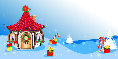 Christmas background with Santa Claus house, gifts and sweets. Merry Christmas. Vector illustration.