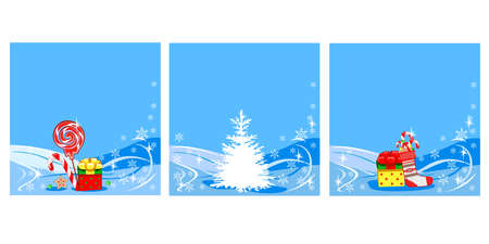 Christmas background from a snowy forest with gifts and sweets. Merry Christmas. Set vector illustration.