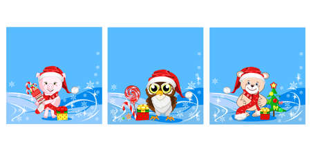 Set of Christmas backgrounds with funny teddy bear, pig, owl, sweets and gifts. Merry Christmas. Vector illustration.