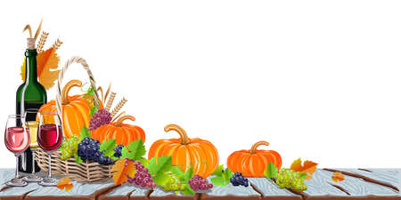 Happy Thanksgiving day background with pumpkins, grapes and yellow leaves. Autumn holiday. Vector illustration.