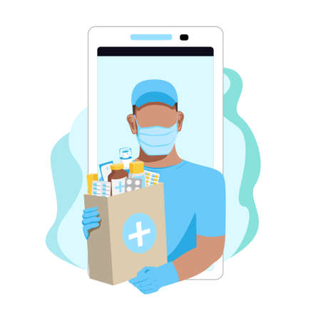 A courier wearing a protective mask and gloves delivers medicines. Quarantine and medicine. Vector illustration isolated on white background. Stock Illustratie