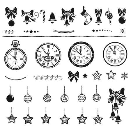 Flat set of Christmas decorations isolated on white background. Templates for holiday decoration star, bell, sock, watch, beads, bow, candy and border. Vector.