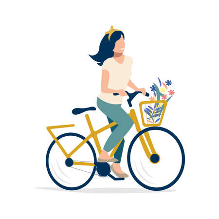 A young girl is riding a bicycle with flying hair and flowers. Sports and recreation. Flat vector illustration isolated on white background.