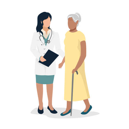 An elderly patient came to see the doctor. Health and medicine. Flat vector illustration isolated on white background.