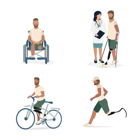 Set of illustrations of a man with a prosthetic leg. A disabled man in a wheelchair after amputation, with a doctor learns to walk on a prosthesis, rides a bicycle and runs. Rehabilitation and lifesty