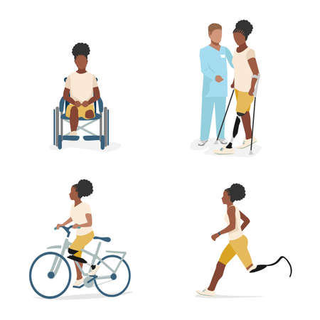 Set of illustrations of a black girl with a prosthetic leg. A disabled girl in a wheelchair after amputation, with a doctor learns to walk on a prosthesis, rides a bicycle and runs. Rehabilitation and