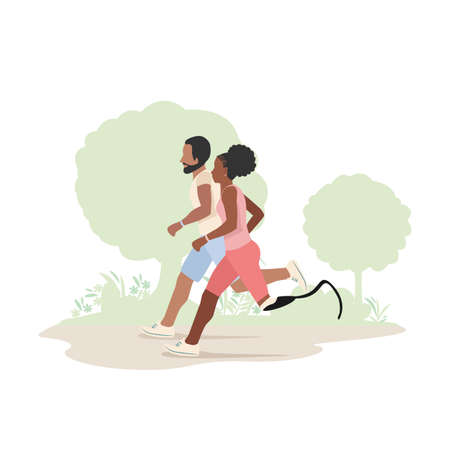 A man and a black girl with a prosthetic leg run in the park. Active lifestyle. Background vector illustration.