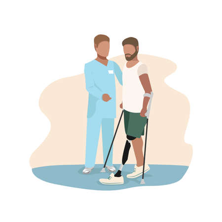The doctor helps a man learn to walk on a prosthesis. A man is undergoing rehabilitation after leg amputation. Background vector illustration. 向量圖像