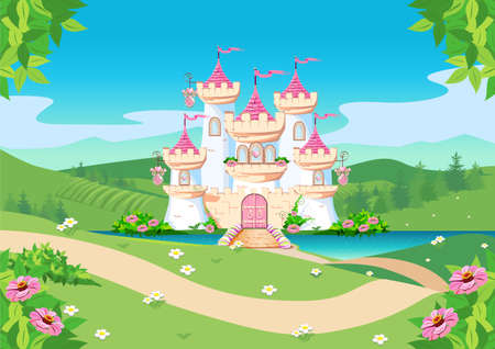 Fabulous background with the princess castle by the lake in the forest. Castle with pink flags, precious hearts, roofs, towers and gates. Fabulous vector illustration.