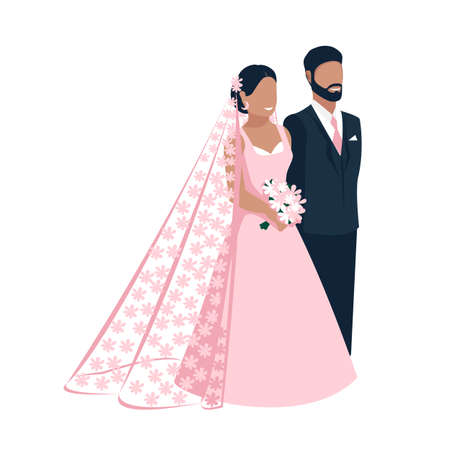 Happy bride and groom get married. Flat vector illustration of lovers man and woman in wedding clothes. Together forever. Isolated over white background.