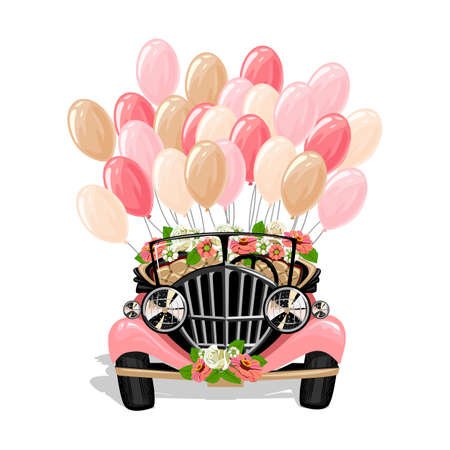 Retro wedding car decorated with flowers and balloons. Wedding vector template illustration in cartoon style. Vecteurs