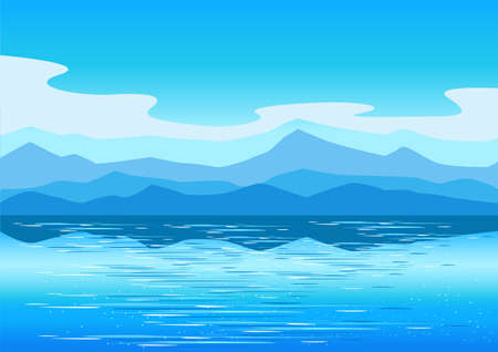 Vector horizontal landscape background with mountains, sea and clouds in a simple modern style. Vektoros illusztráció
