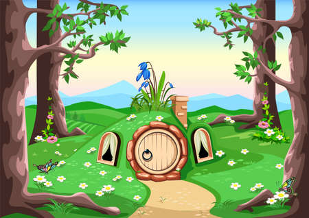 Vector horizontal background fairy tale forest house with a round door and windows stands in a meadow in cartoon style. Ilustración de vector