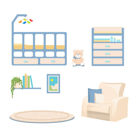 Vector illustration of children's room interior with toys, modern furniture, yellow stars and soft carpet for poster or card background 向量圖像