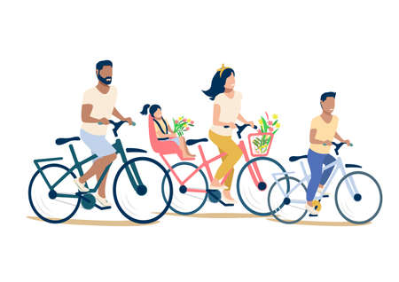 Vector illustration of a happy family riding bicycles on a white background. Mom, dad and children have a happy and fun holiday together. Family day.