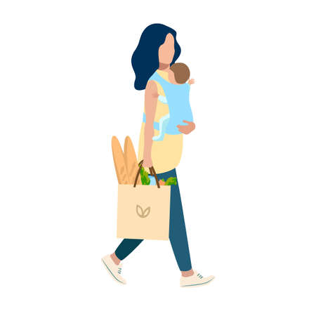 Vector illustration of a happy young mother with a baby in her arms goes from the store with a package of products. Happiness of motherhood, mother's day, happy childhood isolated on white background.