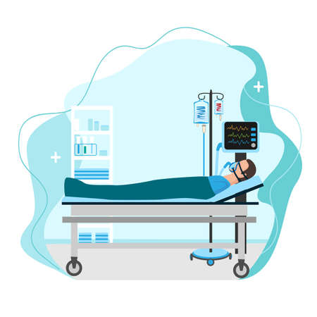 Vector illustration of a sick person lies in intensive care with a dropper and is connected to an artificial respiration apparatus. Thanks to doctors for saving lives
