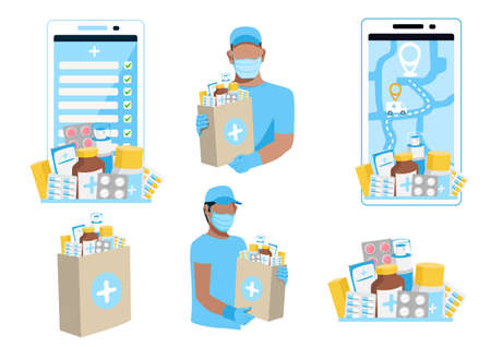 Delivery of medicines vector set of medicines, a courier in a protective mask with a package of medicines, a phone for ordering medicines online. 向量圖像