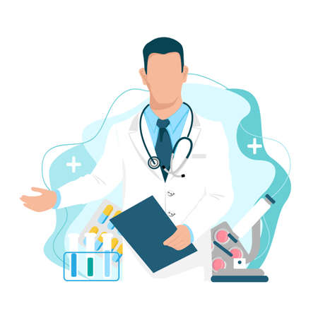 The doctor stands and extends a helping hand to patients. Vector illustration with doctor, pills, medical flasks, microscope on an abstract background. 向量圖像