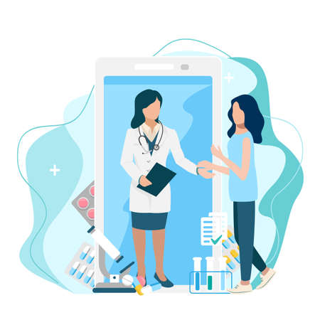 Doctor consults the patient via video communication online by phone vector illustration on modern minimalistic background 向量圖像