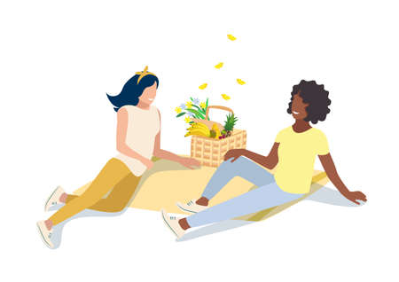 Two girlfriends lie on the bedspread and have fun on a picnic in nature next to a basket with products and flowers, and butterflies fly over it vector illustration isolated on a white background 向量圖像