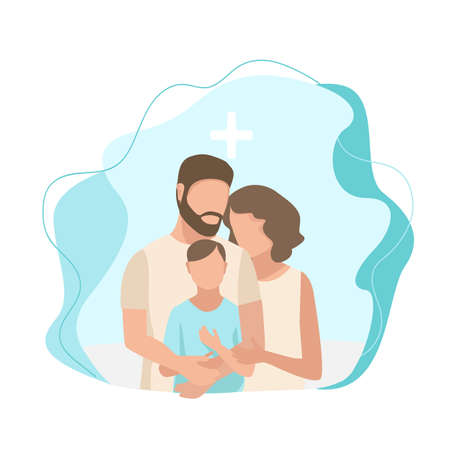 Vector illustration of a married couple gently and caringly hugs their sick little child in the hospital on a modern abstract background. Family day, loving parents, support and care for the family.