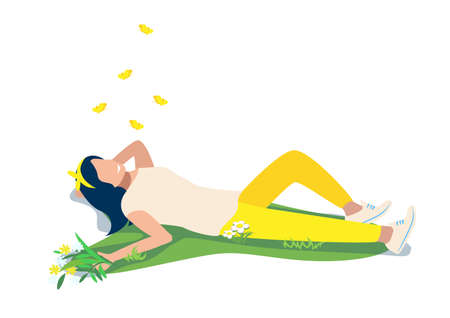 Vector illustration of a happy young girl lies on the grass and looks at yellow butterflies on a white background. Summer outdoor recreation