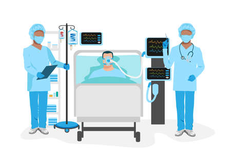 A sick person lies in intensive care and is connected to the artificial respiration system, nurses and doctors are standing next to him. Medical technology and life saving vector illustration isolated 向量圖像