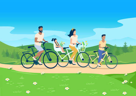 Vector illustration of a happy family riding bicycles on the background of a beautiful landscape. Mom, dad and children have a happy and fun holiday together. Family day.