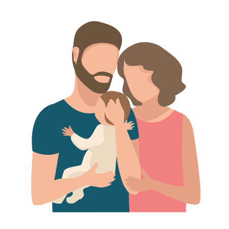 Vector illustration of a family couple tenderly and caringly hugging their little child on a white background. Family day, loving parents, happy childhood.