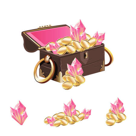 Vector illustration of an open treasure chest with golden handles filled with gold coins and pink crystals isolated on a white background