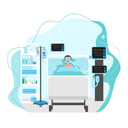 Vector image of a sick person lies in intensive care and is connected to the artificial respiration system. Medical technology and patient care illustration on abstract background