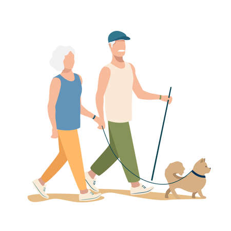 An elderly couple are walking the dog. Active pensioners vector illustration isolated on white background. 向量圖像