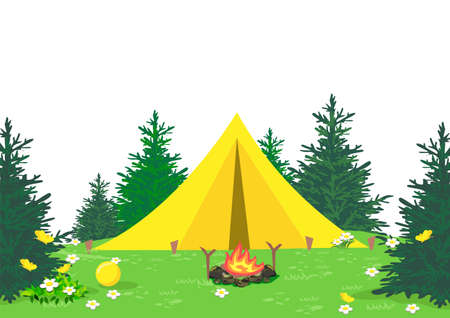 Vector illustration of a camping with a bonfire and a yellow tent standing among the trees in a blooming forest glade