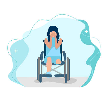 A disabled girl after leg amputation sits in a wheelchair and cries vector illustration on a modern abstract background. Help and adaptation for people with disabilities.