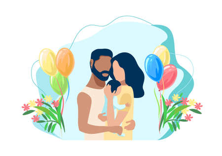 Vector illustration of a family couple gently and caringly hugs their newborn baby. Childbirth, Family day, loving parents, happy childhood.
