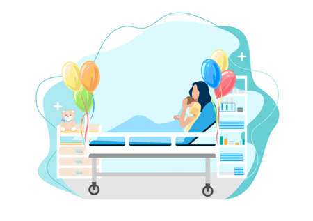 Mom with a baby in her arms after childbirth. The joy of motherhood. Love and care for children. Mother's day. Isolated vector illustration. 向量圖像
