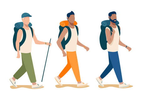 Vector set of young men with backpacks going on a hike. Travel and active people isolated on white background.