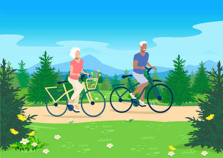 An elderly couple ride their bicycles along a forest path against the backdrop of a beautiful summer landscape with trees and mountains. Active elderly men and women vector illustration.