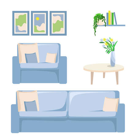 Vector furniture set of sofa, armchair, table, vase of flowers, bookshelf and paintings in modern style 向量圖像
