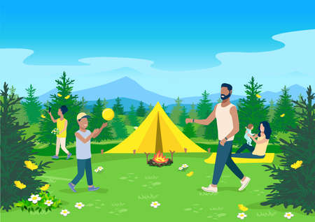 Horizontal vector illustration parents and children are resting together in a camping with a tent and a bonfire on the background of a beautiful summer landscape with yellow butterflies