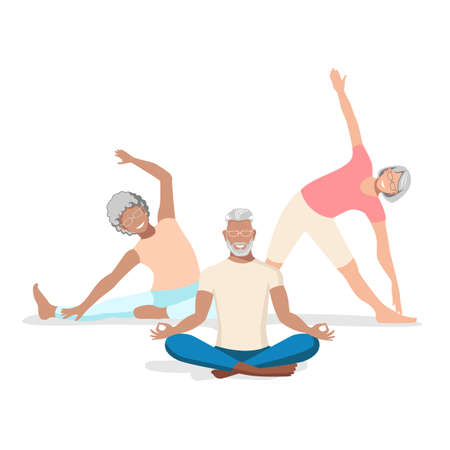 A group of active elderly men and women go in for sports and lead an active lifestyle. Vector illustration isolated on white background. 向量圖像