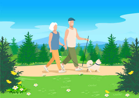 An elderly married couple with a dog are walking along a path in the forest. Vector illustration of active elderly people on the background of a beautiful summer forest landscape