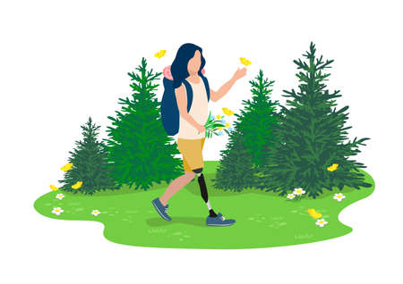 Vector illustration of a disabled girl with a prosthetic leg leads an active lifestyle and goes hiking in the forest. Rehabilitation and adaptation of people with disabilities. 向量圖像