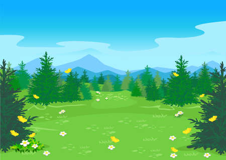 Summer landscape with a blooming meadow, hills, trees, flowers and yellow butterflies against the background of a mountain with snow-capped peaks. Travel and outdoor recreation. Nature vector illustra