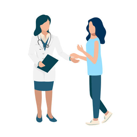 The female doctor and the patient hold out their hands to each other. Medical help vector illustration in simple modern style isolated on white background 向量圖像