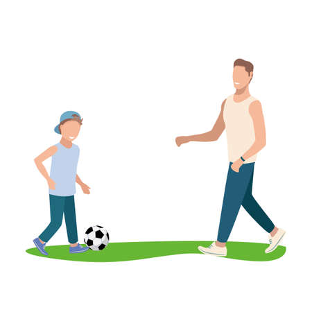 Cheerful and happy dads with their son play football. Father's day vector illustration isolated on white background.