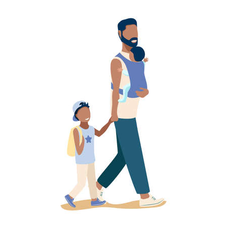 Happy young dad is walking with two children. Happiness of fatherhood, father's day, happy childhood, vector illustration in simple modern style isolated on white background.