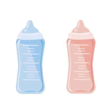 Vector set of pink and blue baby bottles in simple flat style isolated on white background