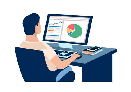 A man sitting at home works at a computer and watch the growth chart and profit analysis. Working from home vector illustration in simple modern style